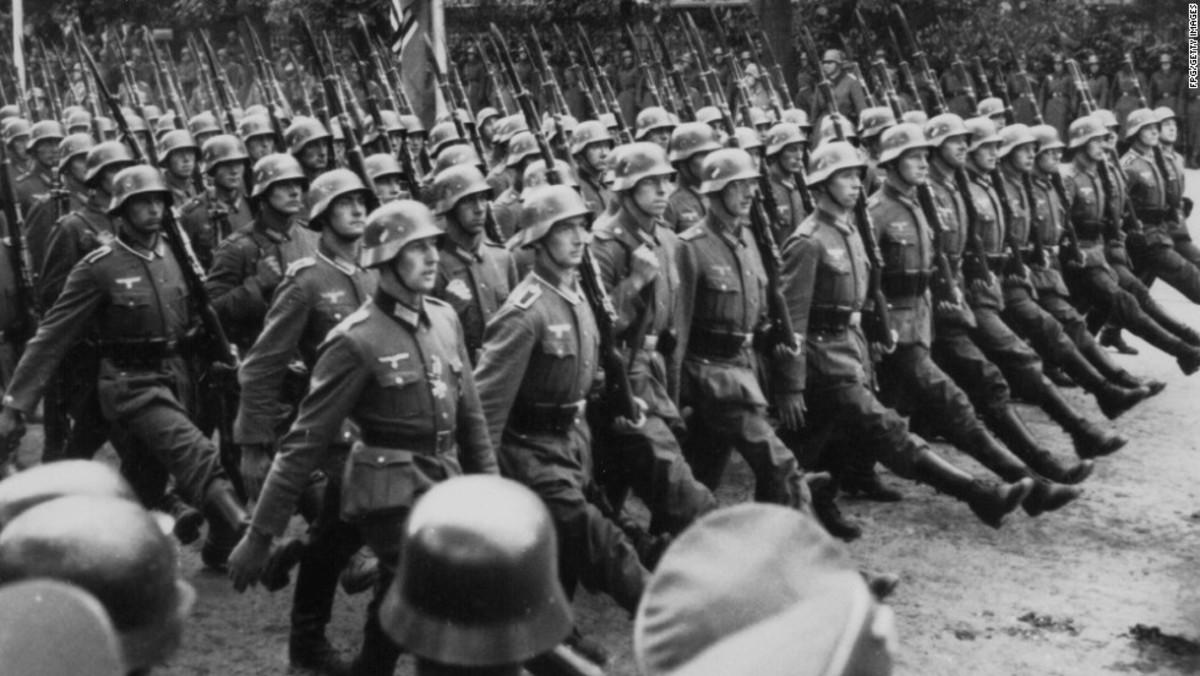 German troops entering Warsaw during World War Two