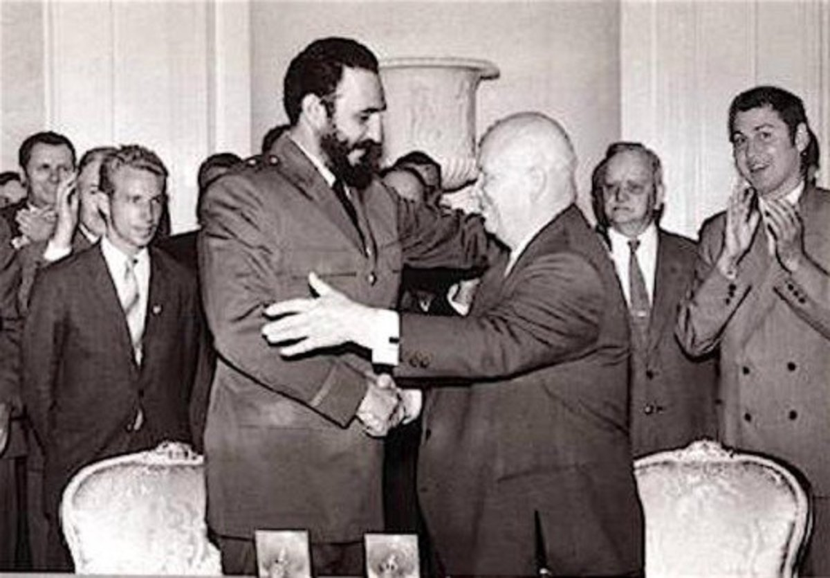 Nikita Khrushchev greets his fellow communist leader, Cuba's Fidel Castro in 1963 during Castro's visit to Moscow.