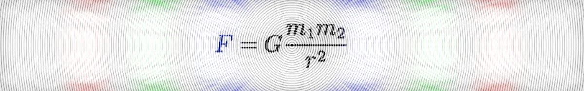 F = G (m1  m2) / r^2