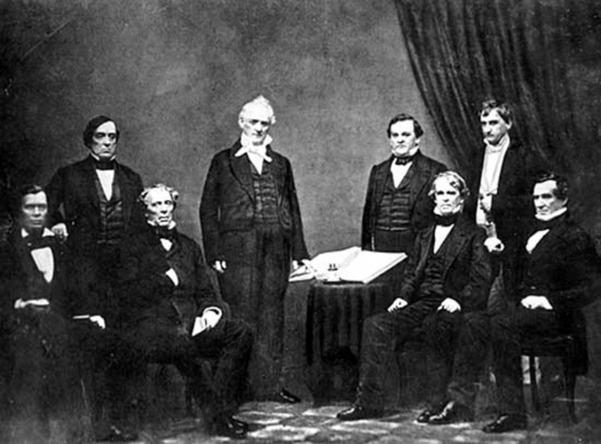 From left to right: Jacob Thompson, Lewis Cass, John B. Floyd, James Buchanan, Howell Cobb, Isaac Toucey, Joseph Holt and Jeremiah S. Black, (c. 1859)