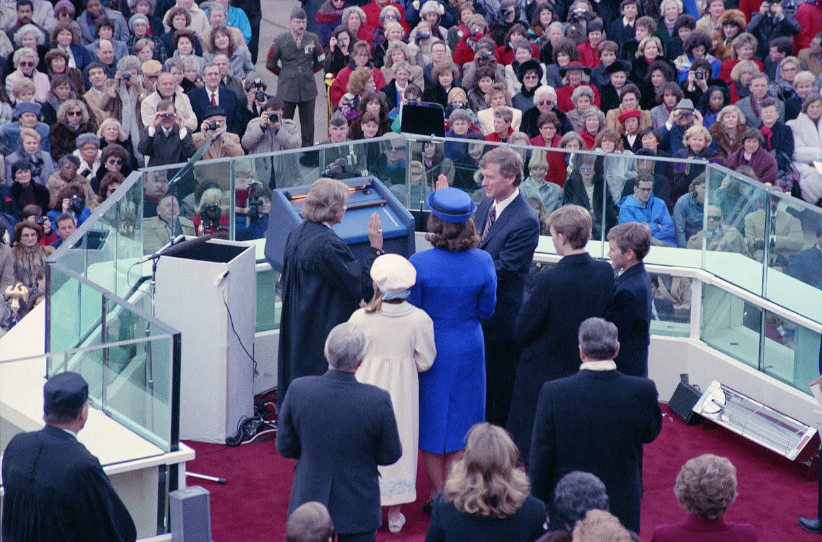 1989 Presidential Inauguration - George H. W. Bush and Dan Quayle swearing in ceremony.