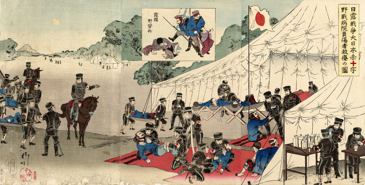 Japanese treating wounded Russian soldiers during the Russo-Japanese War.