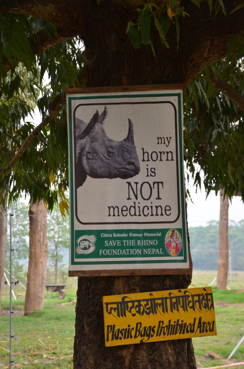 Save the rhino sign in Nepal