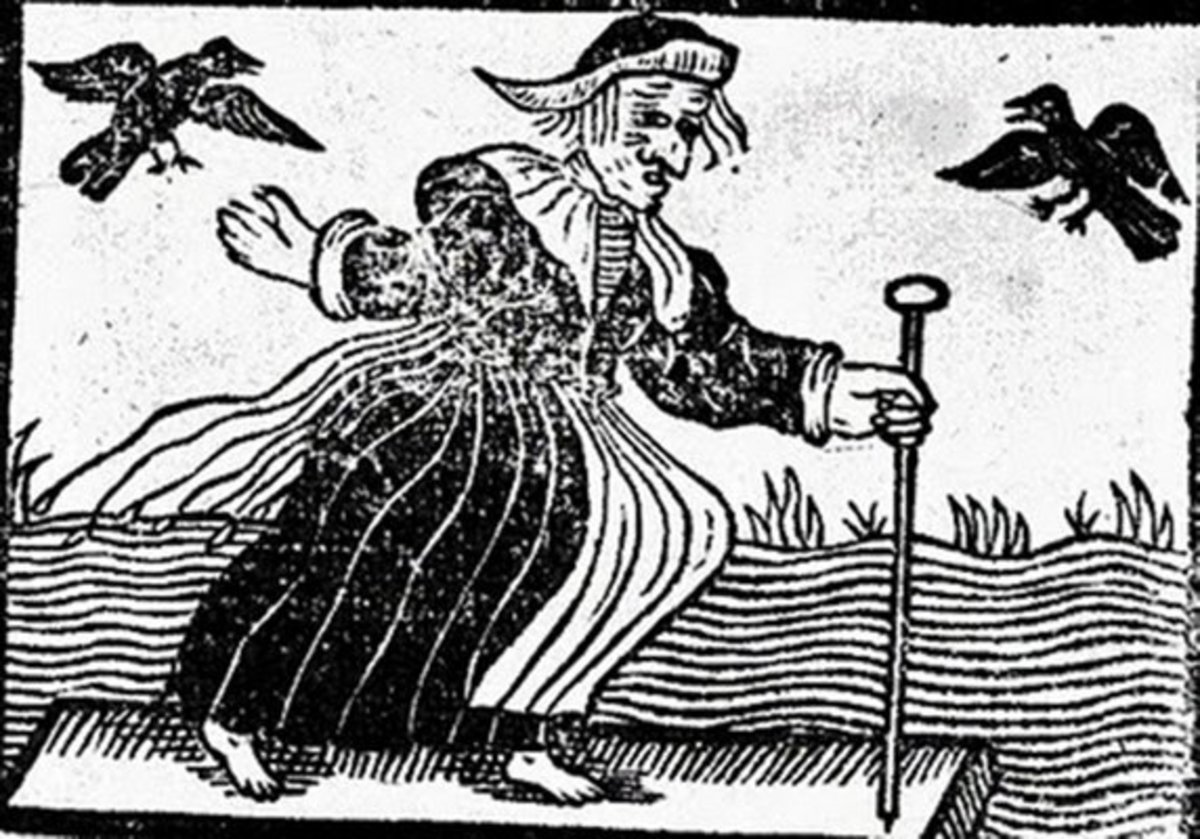 Woodcut of a Hag