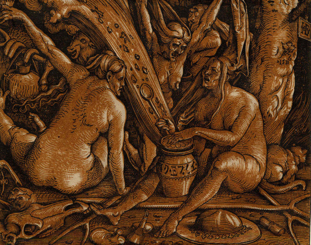Replica of Medieval Woodcut Depicting Witches