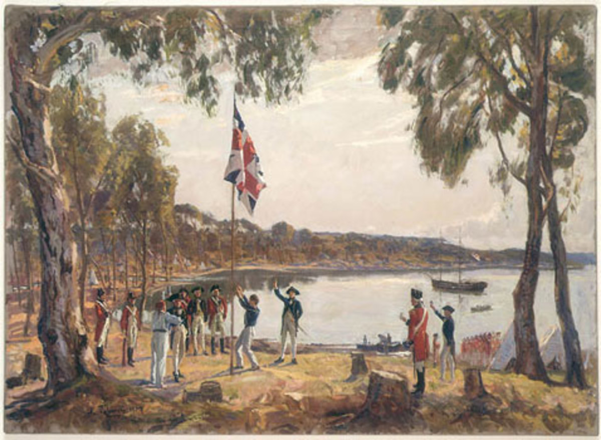 The Founding of Australia. Painting by Algernon Talmage