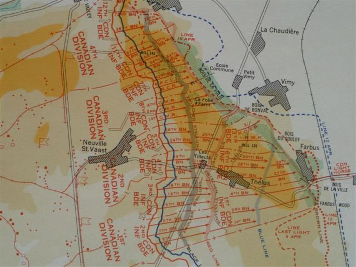 A photograph of a map recreated by the Canadian Army Survey Establishment showing the Canadian Corps' position at Vimy