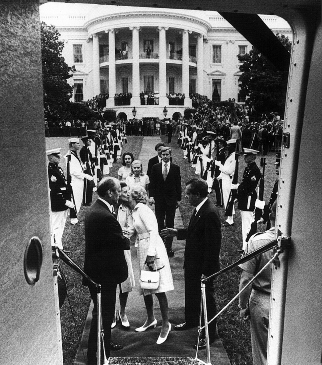 Richard Nixon departing the White House after resigning.
