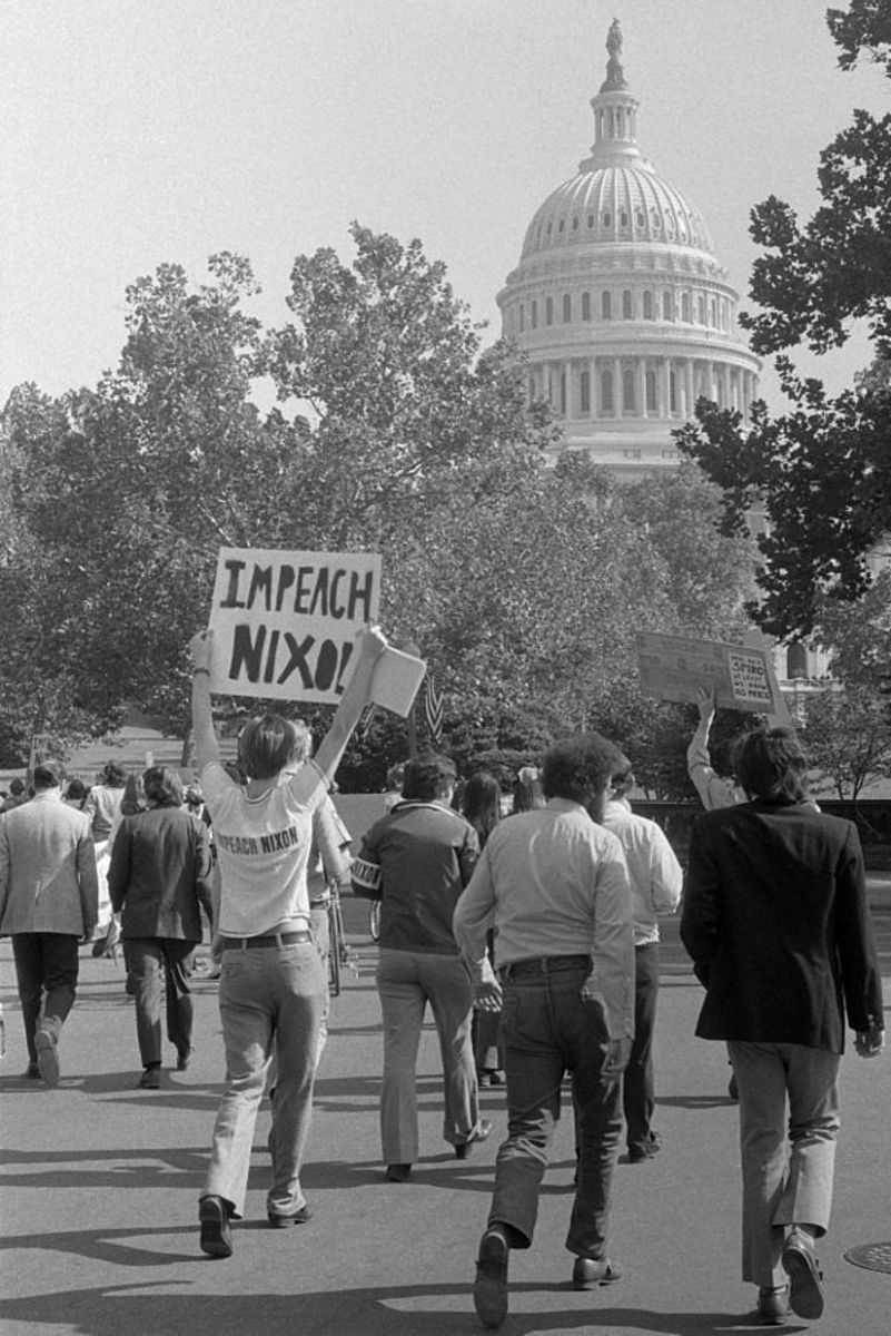 "Demonstrators in Washington, DC, with sign ""Impeach Nixon."""