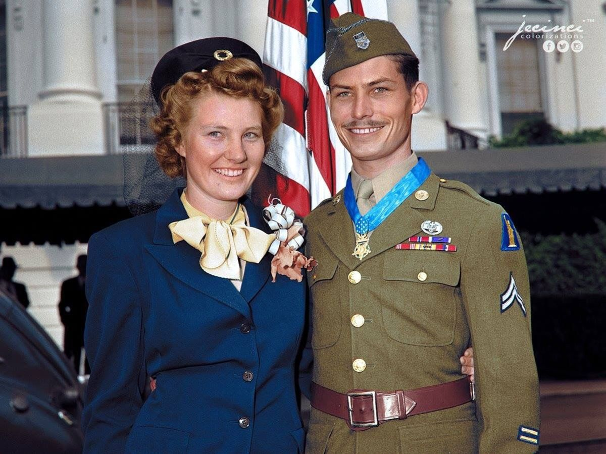 Corporal Desmond T. Doss with his wife Dorothy, after having received the Medal of Honor from President Harry Truman.