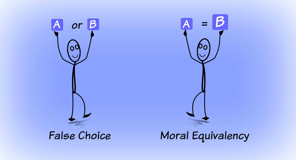 An argument can be framed to make you think there are only two choices or that two very disproportionate things are actually equal.