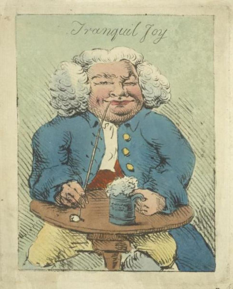 A Colonial man enjoying his drink and smoke