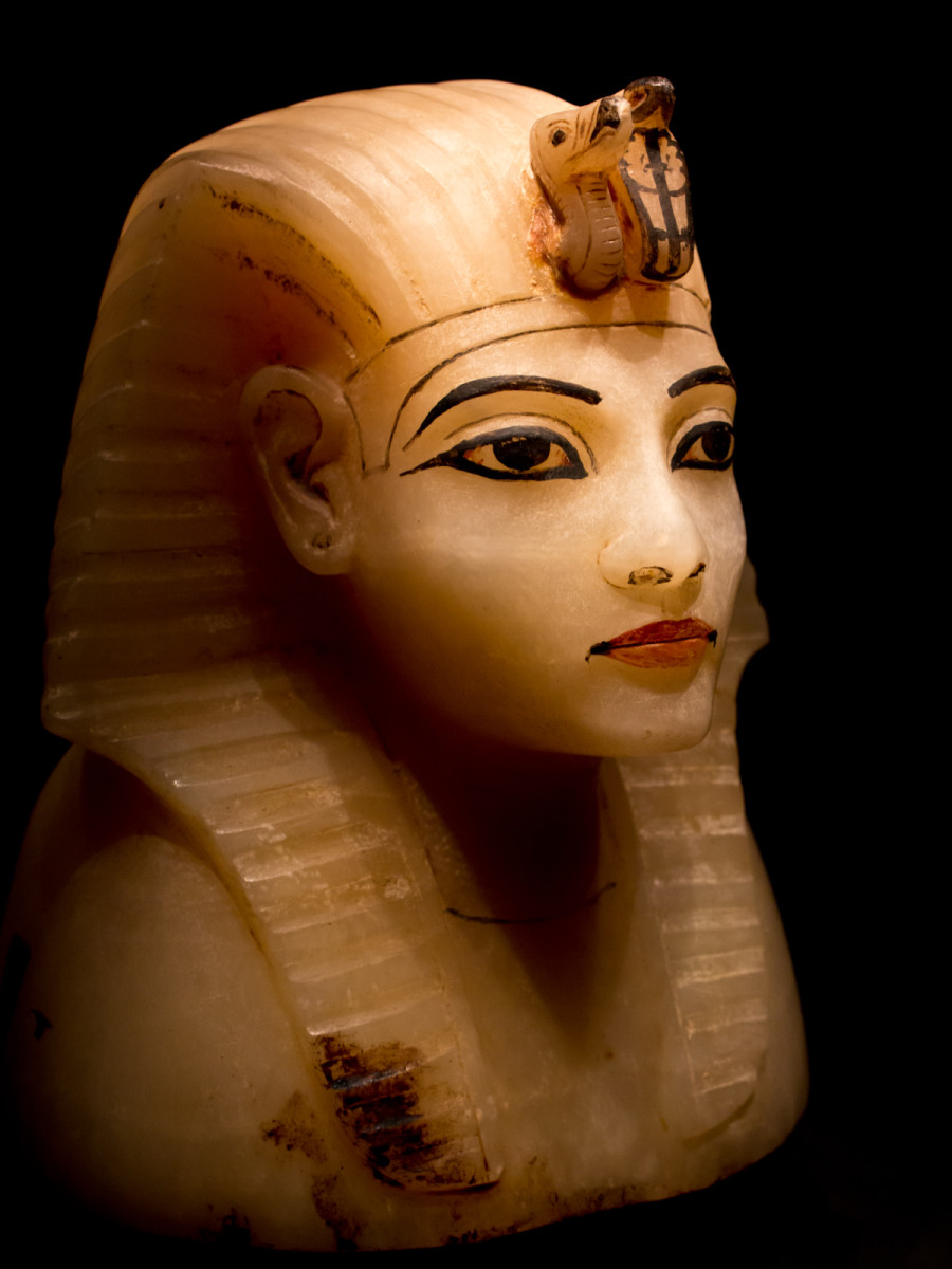 The lid for one of the canopic jars of Tutankhamun, portraying the king himself.
