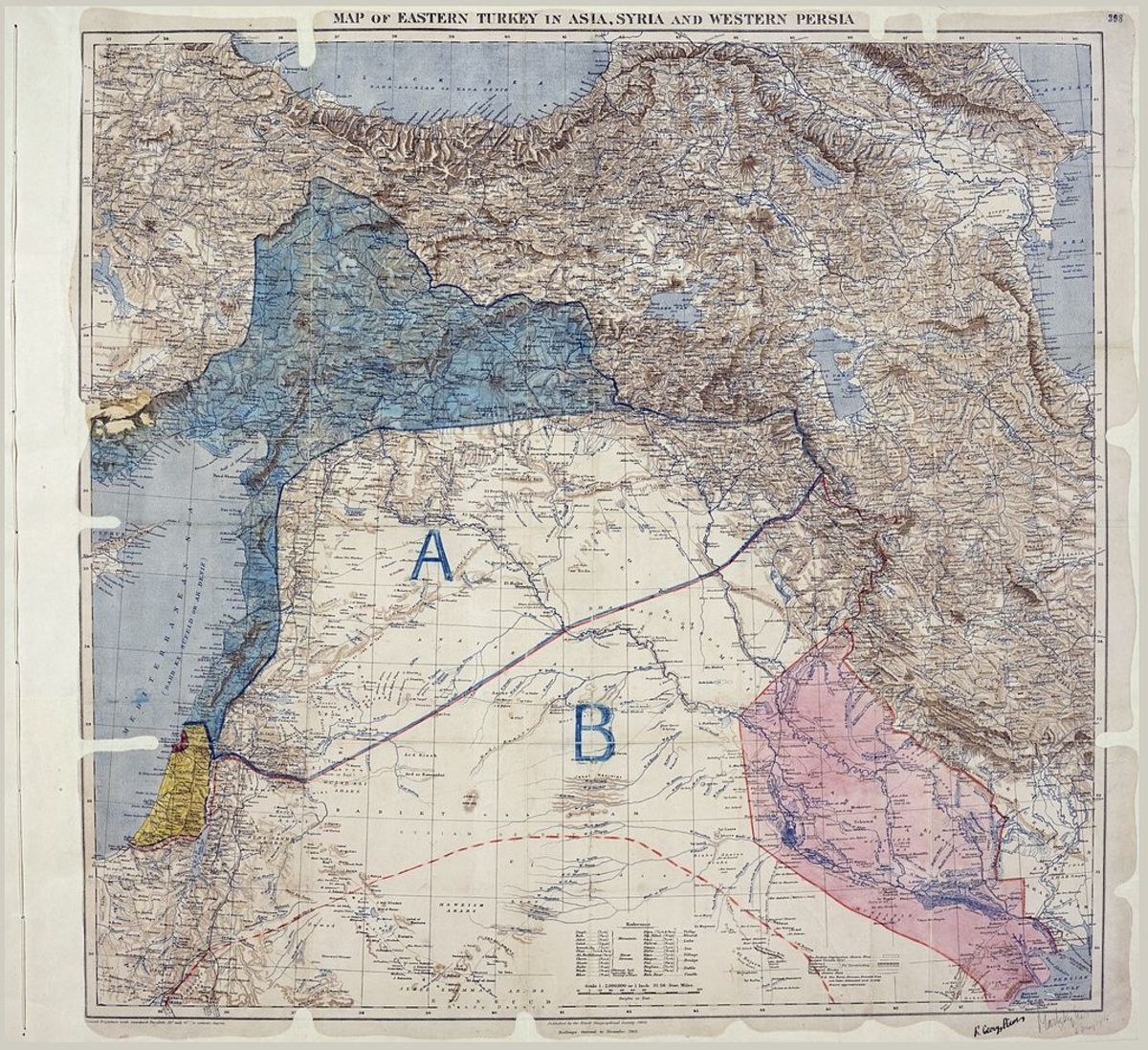 The Sykes-Picot Map Dividing French and British Spheres of Influence