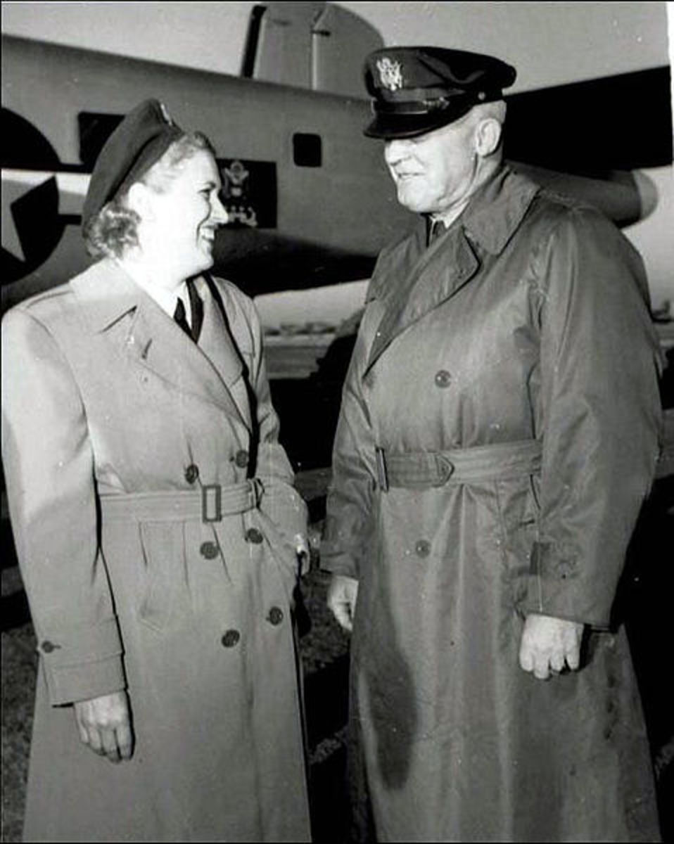 Jackie Cochran with General Hap Arnold who assigned her to investigate how the British were using female ferrying pilots in the war effort.