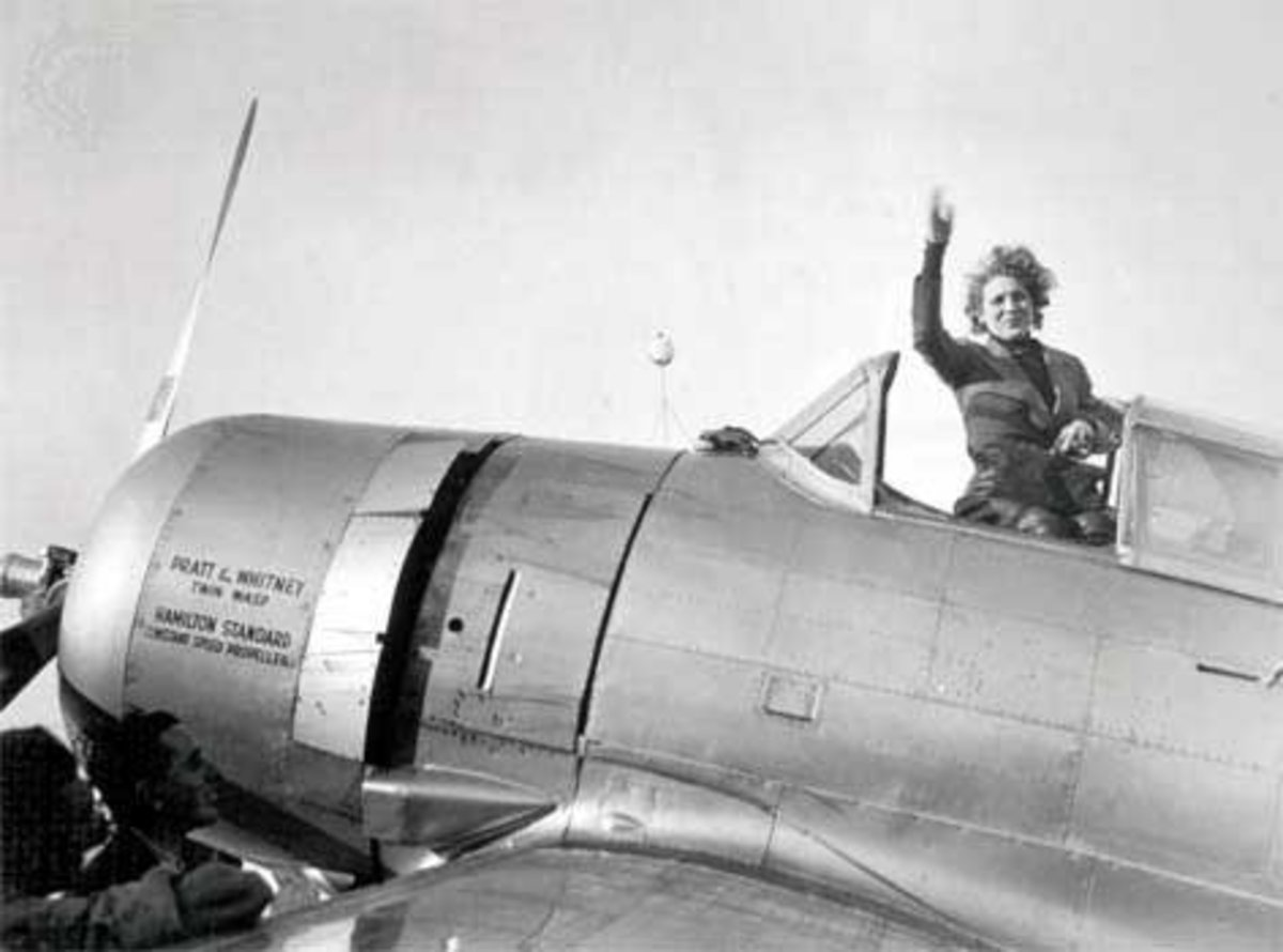 "Jackie Cochran, founder of the WASPs in the USA and outstanding aviator, who organised for the ""Ladybirds"" to go to the UK."