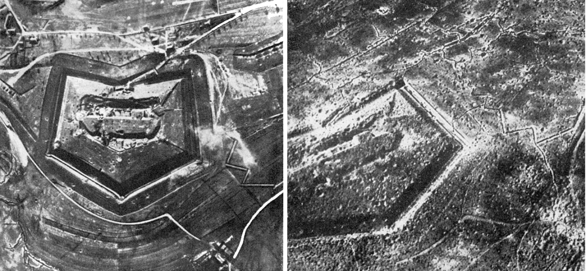Fort Douaumont before (left) and after (right) the battle of Verdun.
