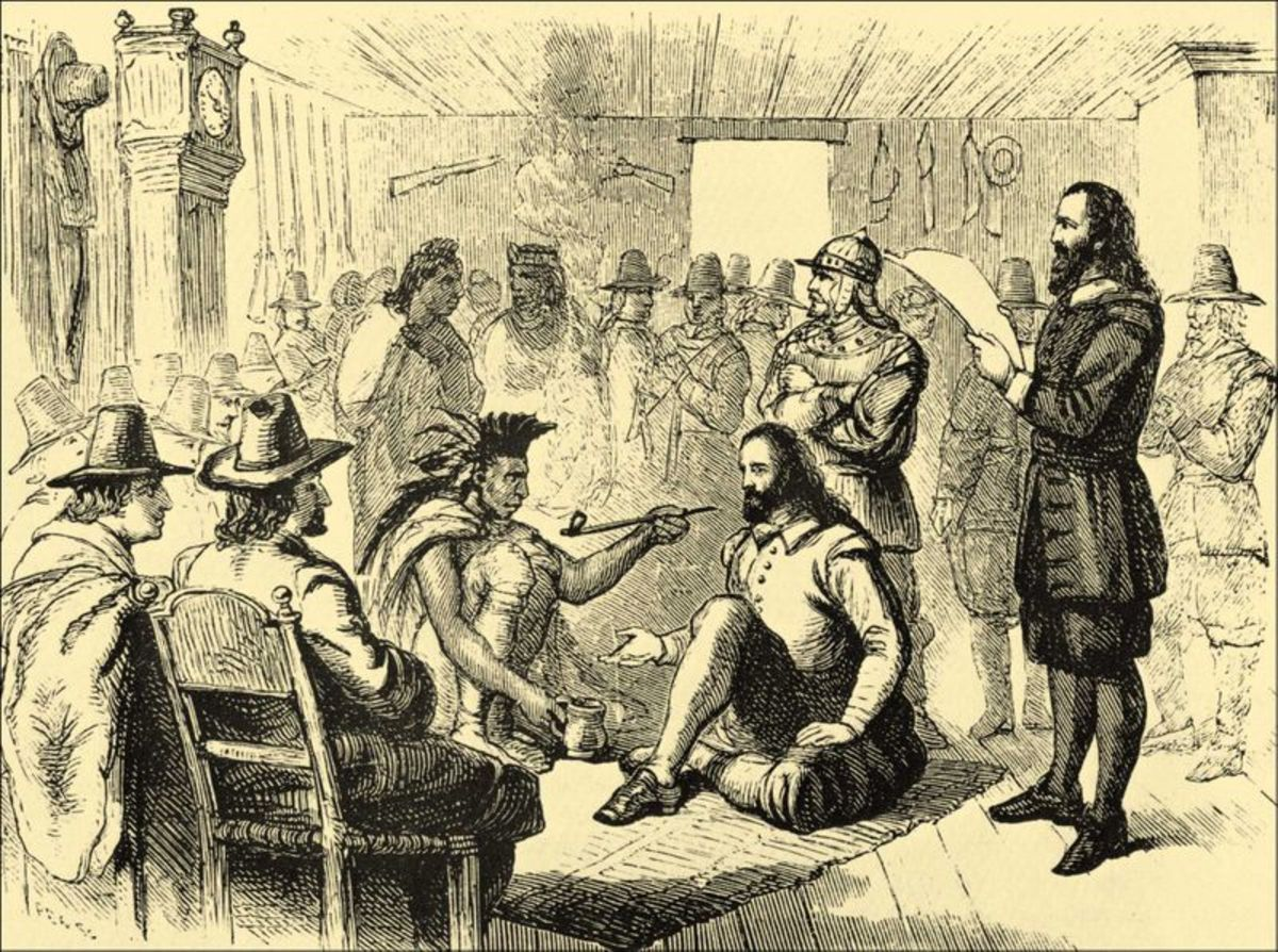 The Pipe of Peace shared between Massasoit and Governor John Carver in 1621
