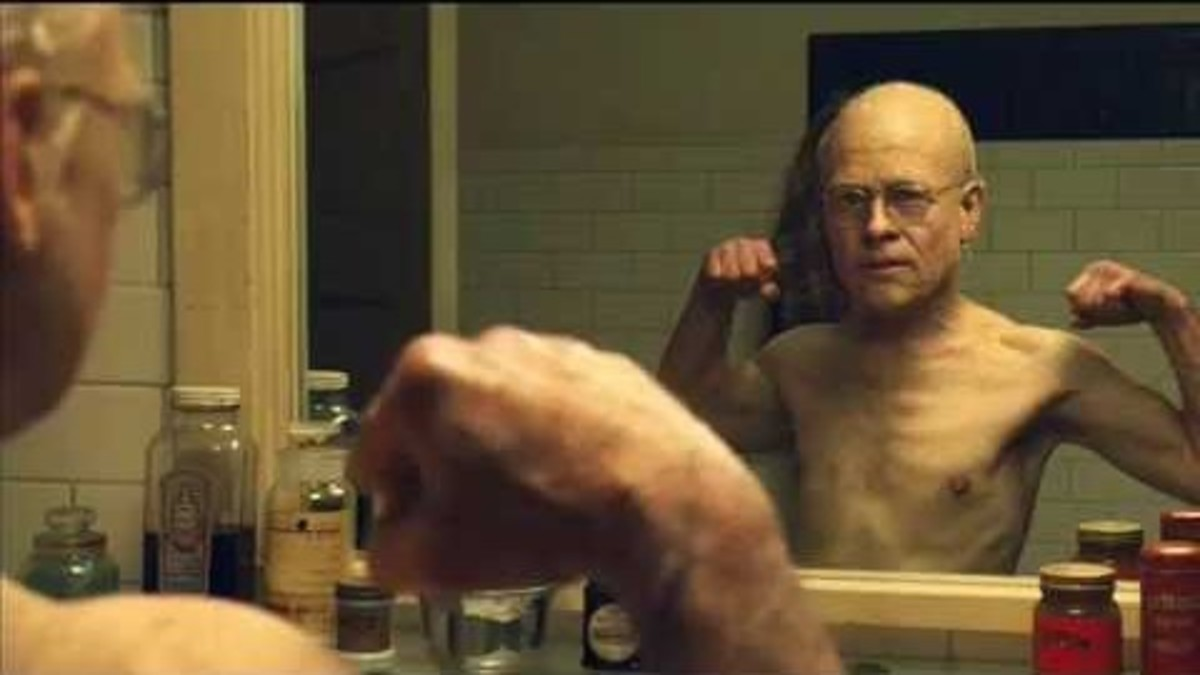 Brad Pitt as Benjamin Button in the film