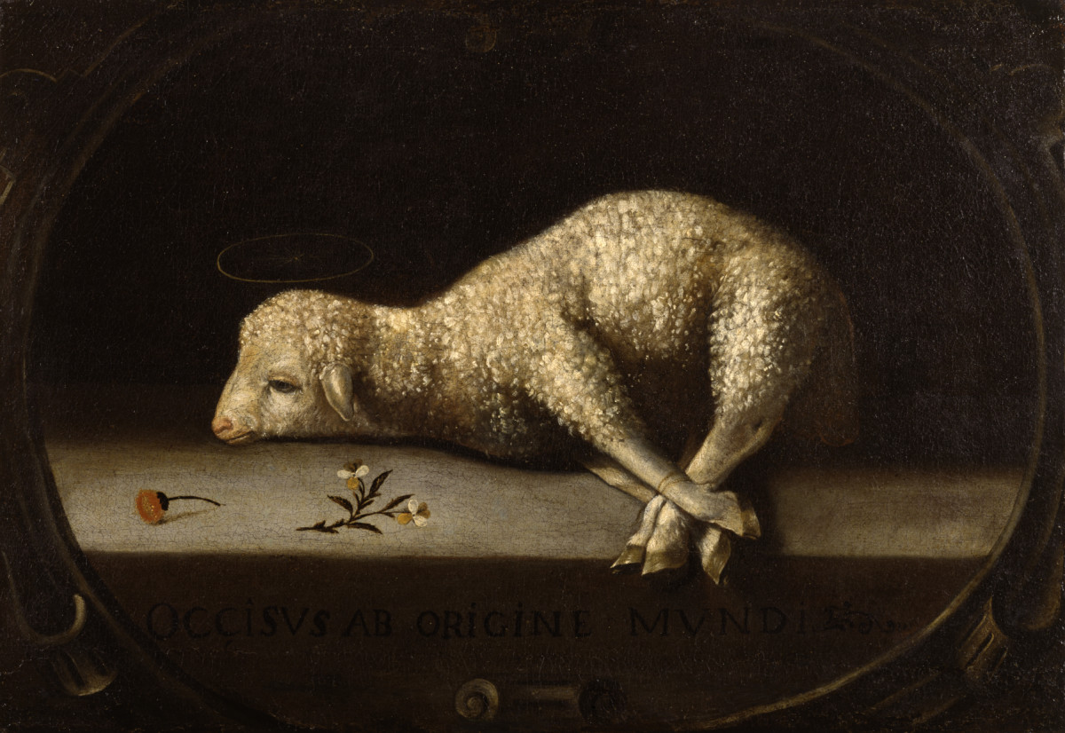 This symbolism of Christ as a sacrificial lamb who brings salvation derives from the feast of Passover, instituted after the Lord saved the Jews in Egypt who brushed the blood of slaughtered lambs over their doors between circa 1670 and circa 1684