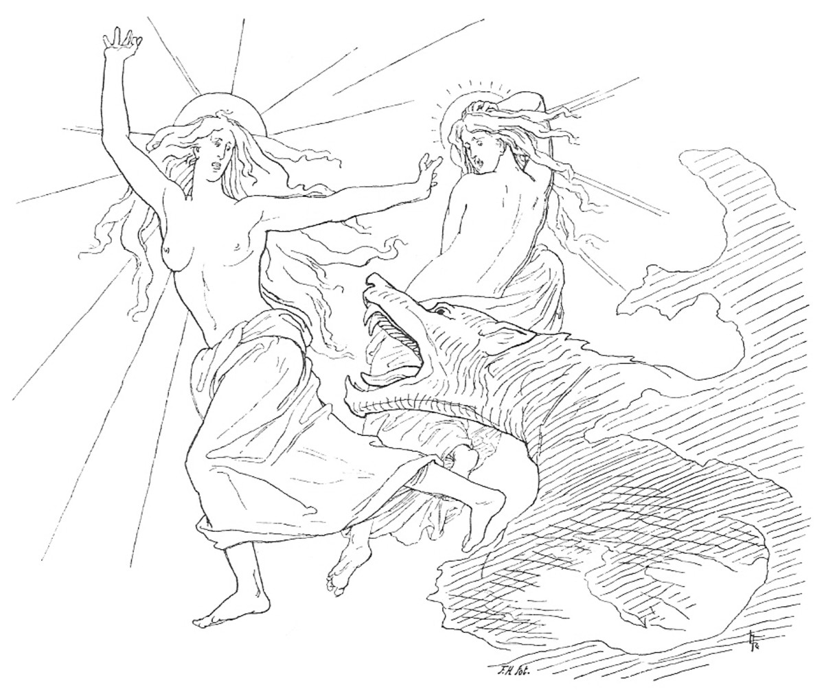 Fenrir eating Sol, the Sun, during the last battle