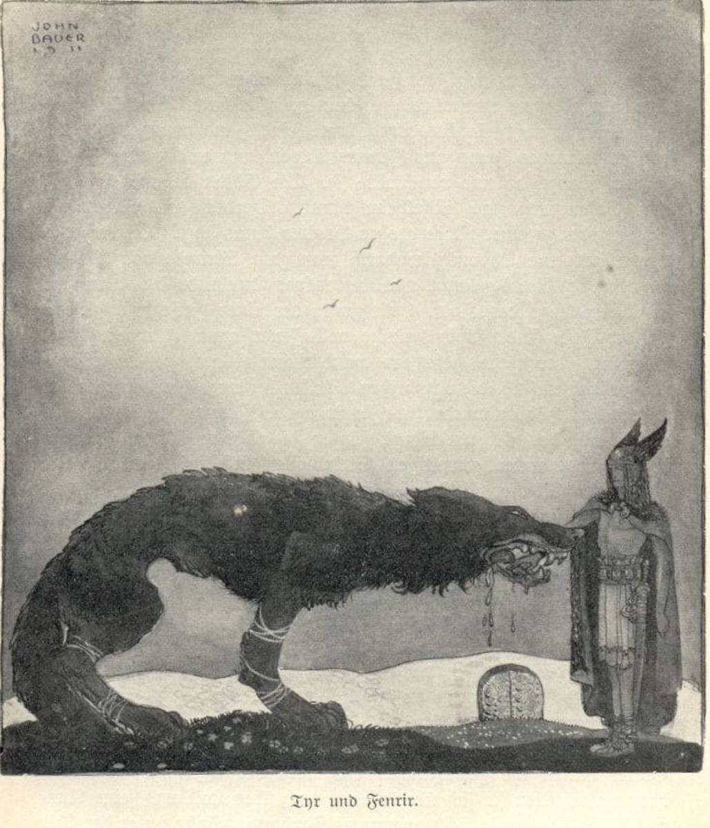Tyr offering his hand to Fenrir
