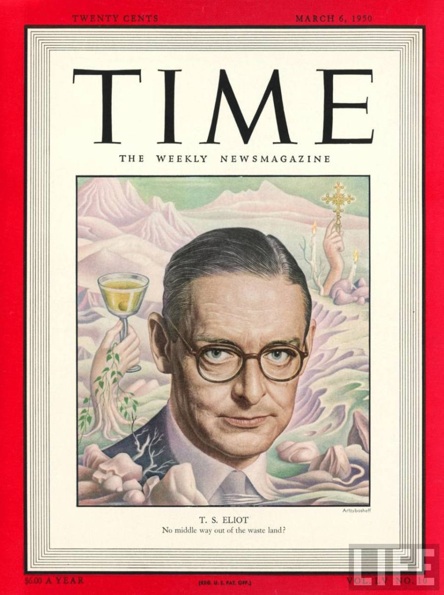 T. S. Eliot on the cover of Time magazine.