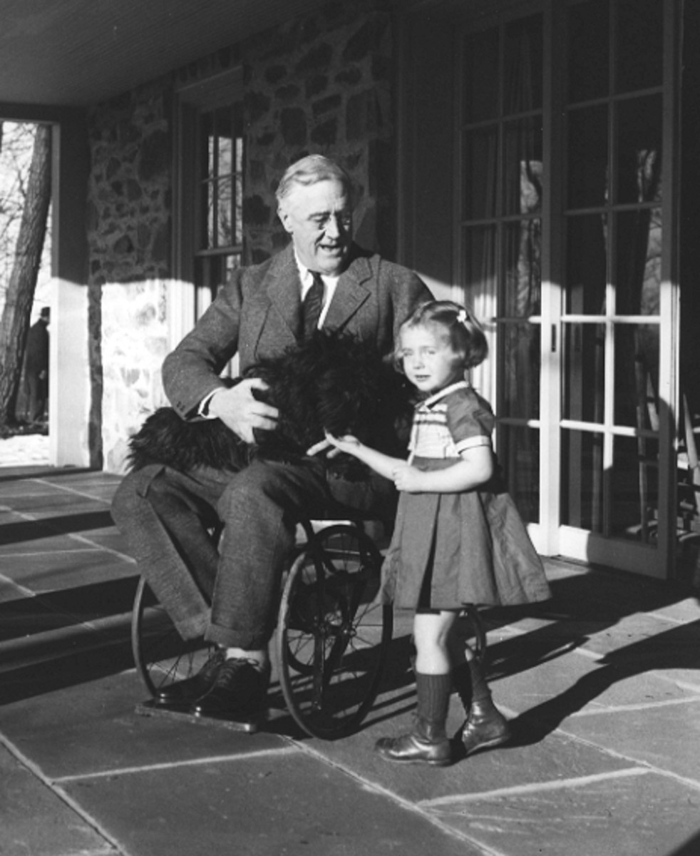 Rare photo of Franklin D Roosevelt in a wheelchair in 1941.  FDR took decisive and radical action to counter the economic decline in the USA.  Within a year the American economy was beginning to show signs of economic recovery.