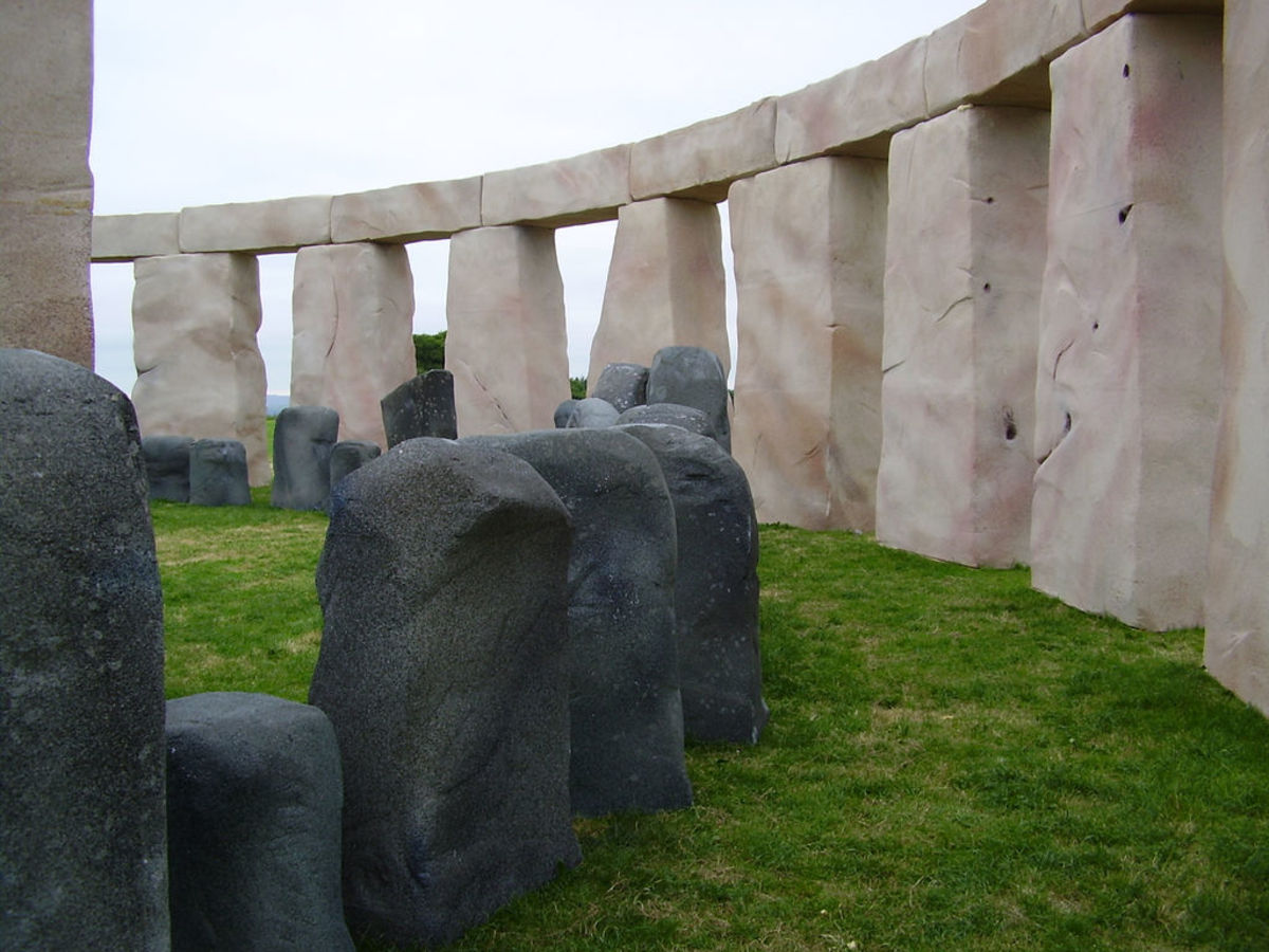 """Foamhenge"": a reconstruction of Stonehenge showing bluestones and sarsens"