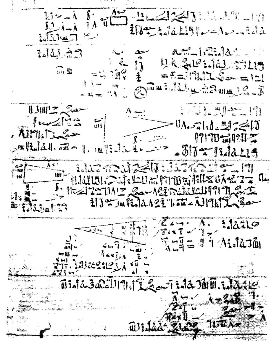 A part of the Rhind Mathematical Papyrus showing early trigonometry