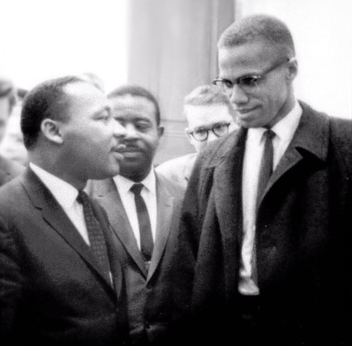 Malcolm X's and Martin Luther King Jr met together only once.  The meeting took place on March 26, 1964 and was very brief, barely long enough for photos to be taken.  It occurred in Washington during the Senate's debate on the Civil Rights bill.