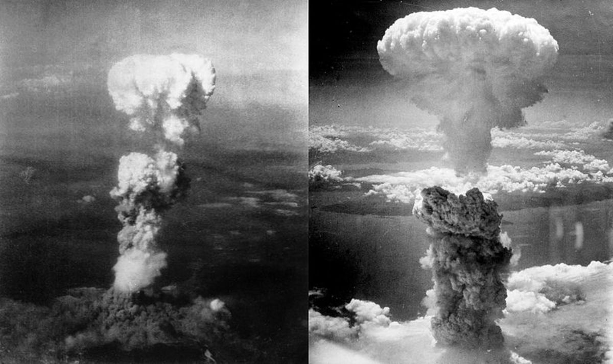 Mushroom clouds from the only atomic bombs ever used in warfare. The bombs were dropped on the japanese cities of Hiroshima (left) and Nagasaki (right).