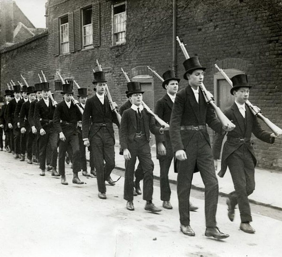 Boys of Eton College practice drill in 1915.