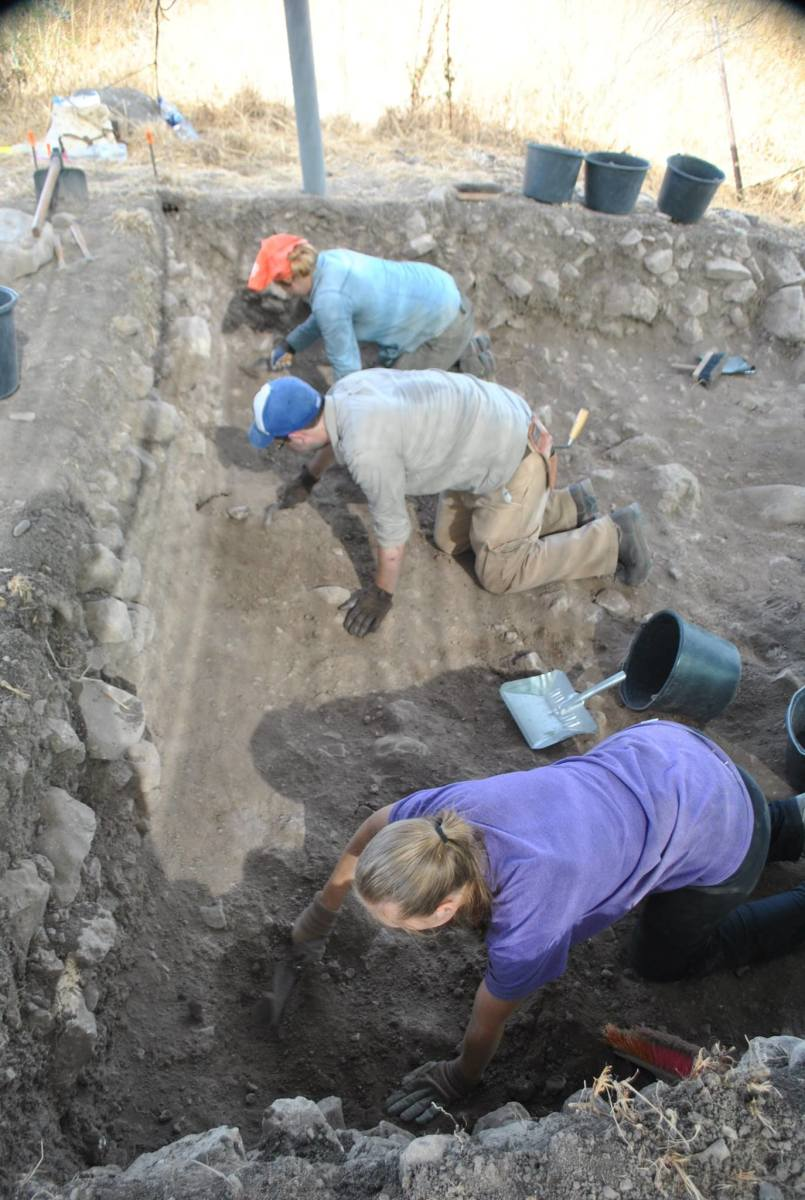 We would spend most of the days bent over and sitting in odd positions in order to try to carefully excavate the area without compromising any finds.
