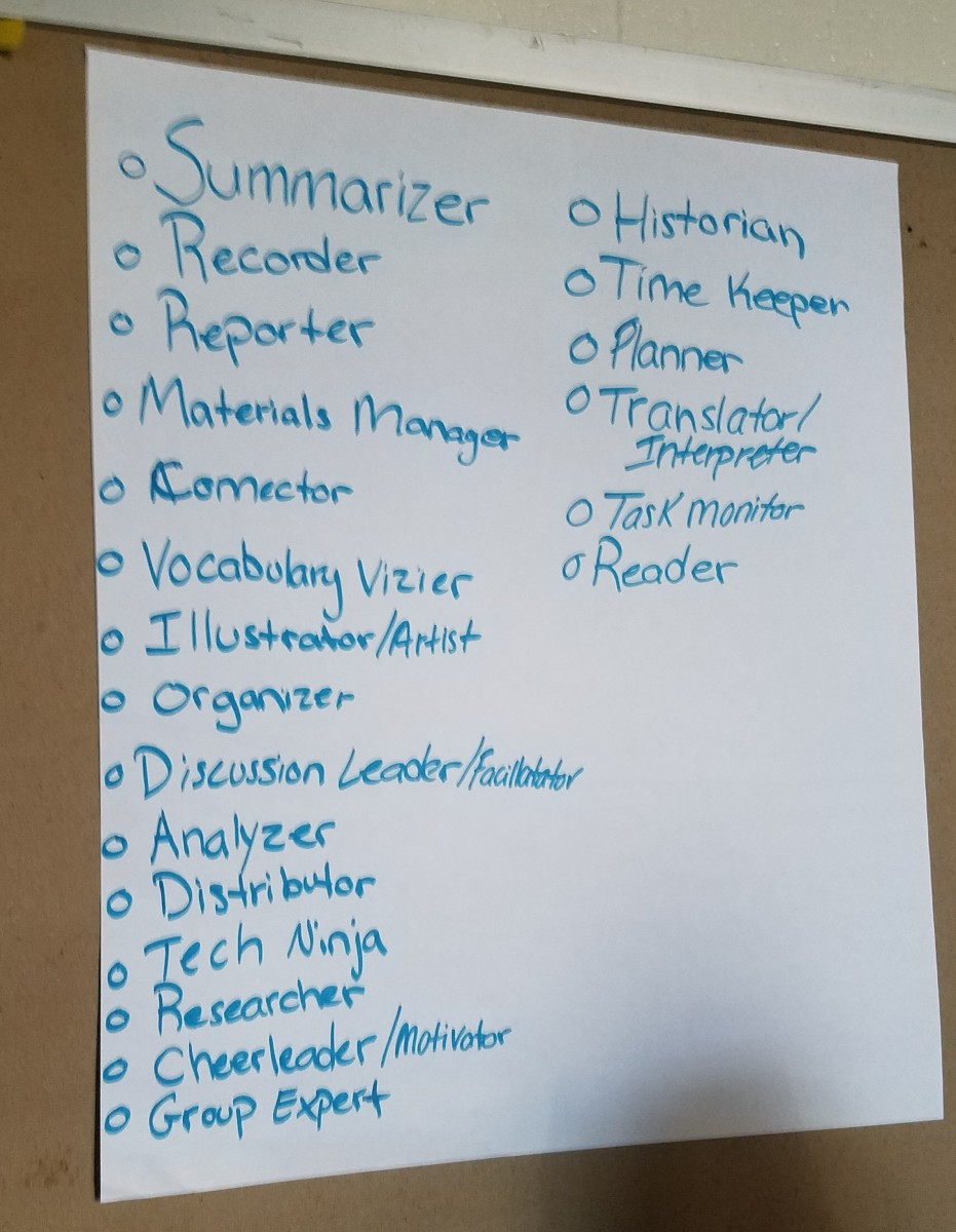Student role ideas for literature circles