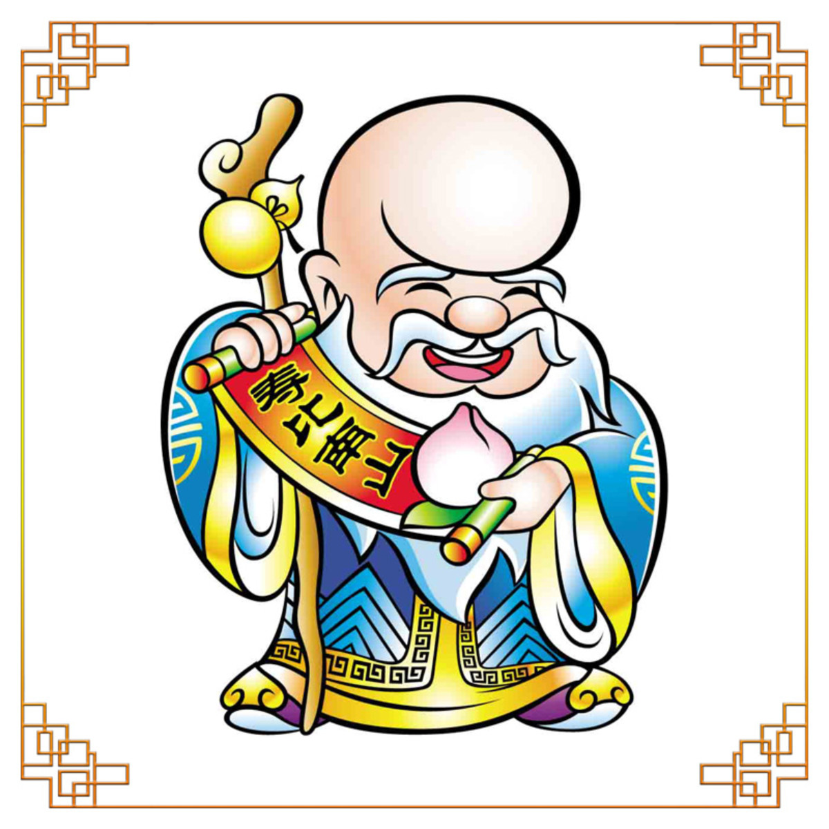 "The Chinese God of Longevity with a ""Shou Tao,"" or age-extending peach, in Chinese folklore."