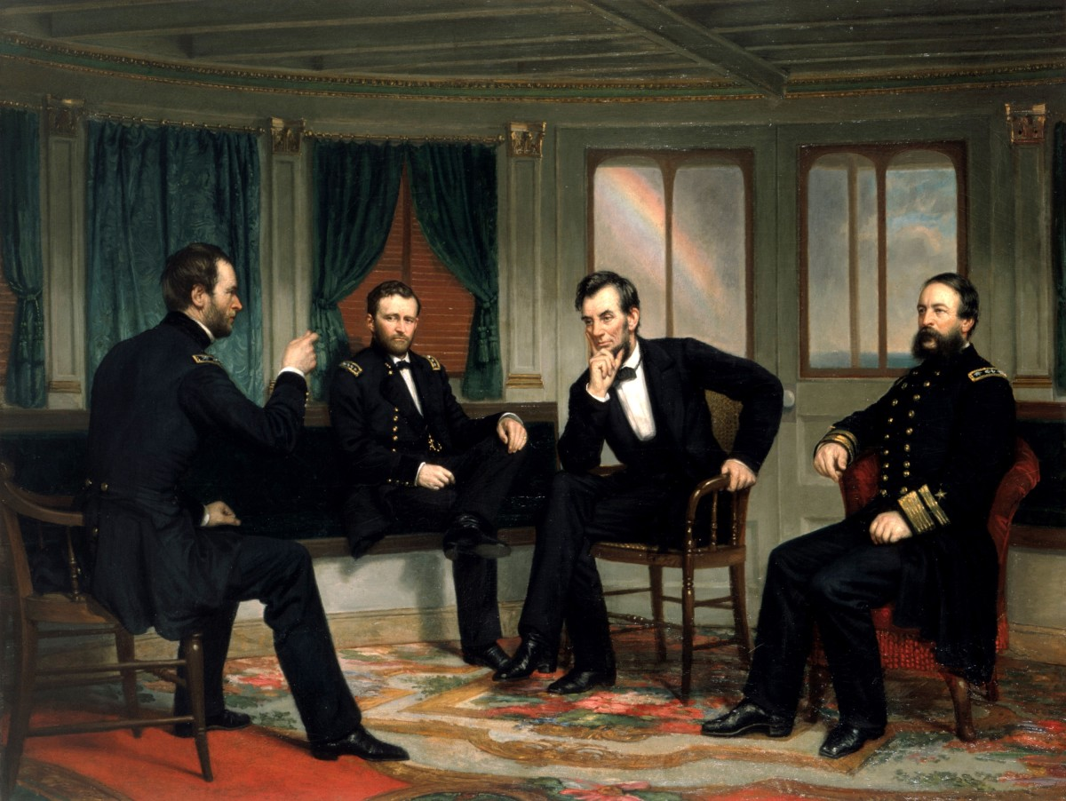 This is a copy of the lost White House 1868 painting. From left to right: Sherman, Grant, Lincoln, and Porter aboard the River Queen on March 27th and 28th, 1865.