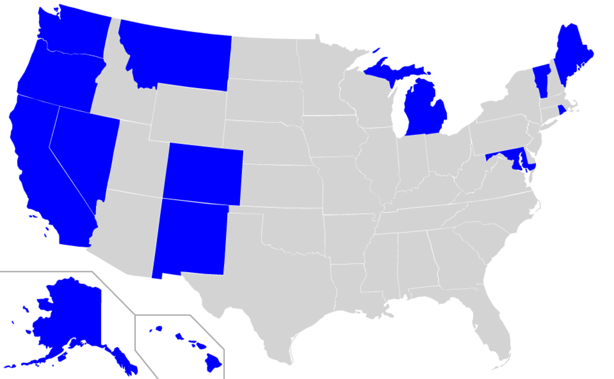The states in dark blue allow medical marijuana.