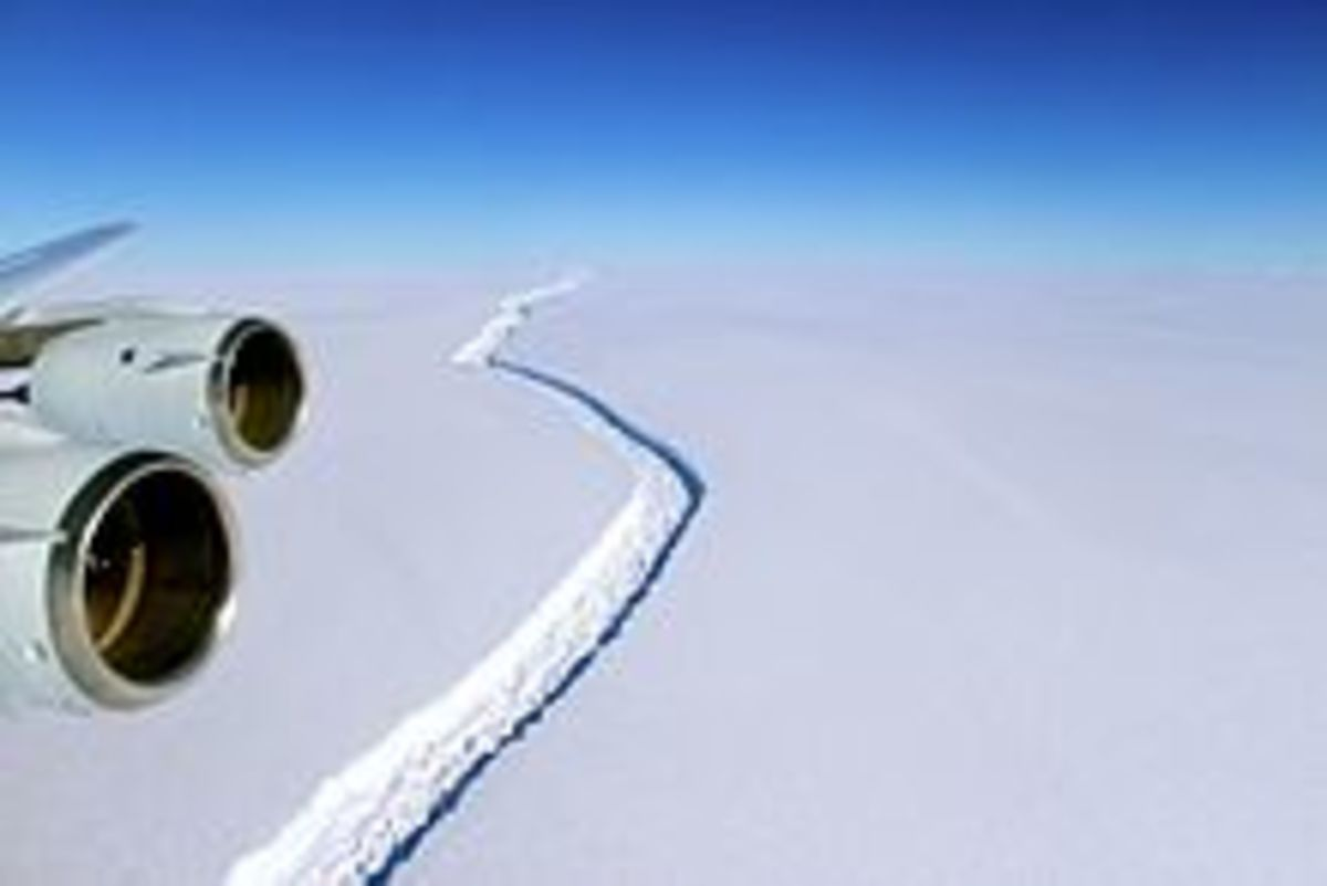 This NASA photo shows the crack in the Larsen Ice Shelf C from the air