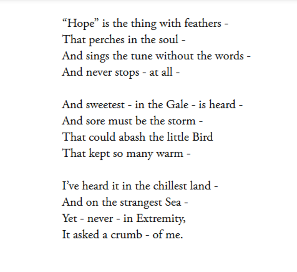 Analysis Of Poem Hope Is The Thing With Feathers By Emily
