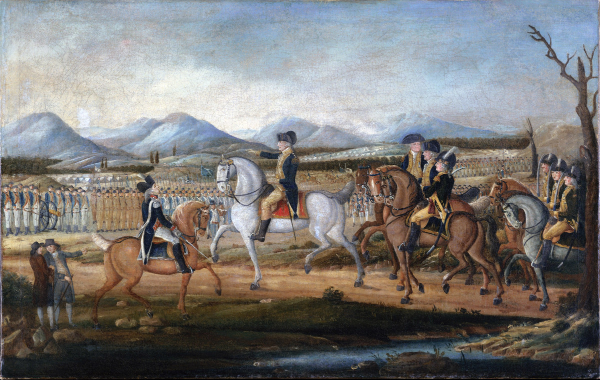 Washington leading the volunteer militia in a march against the whiskey brewers.