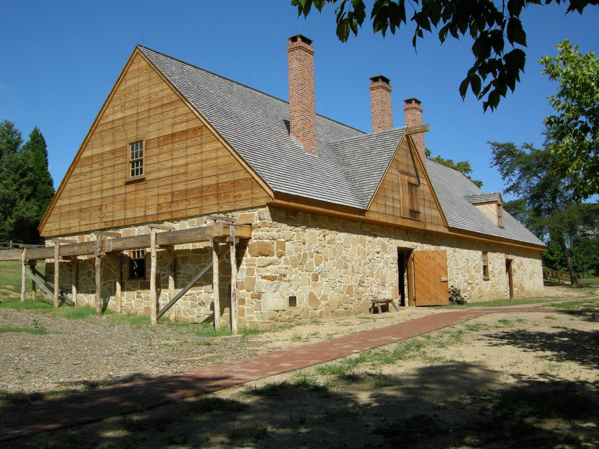A modern day photograph of the distillery building at Mount Vernon.