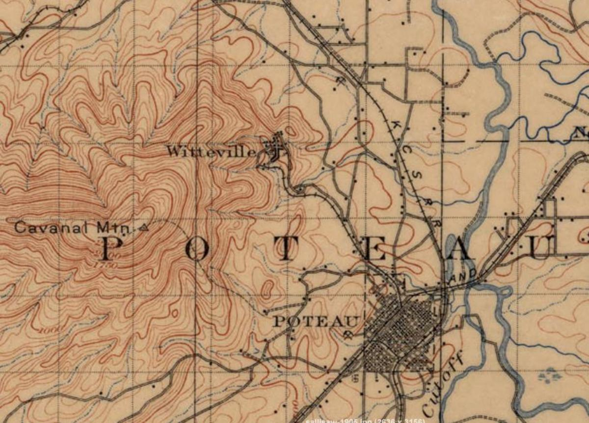 Map showing the location of Witteville.  The road to reach the top of Cavanal followed the old railroad route that led to the town of Witteville.