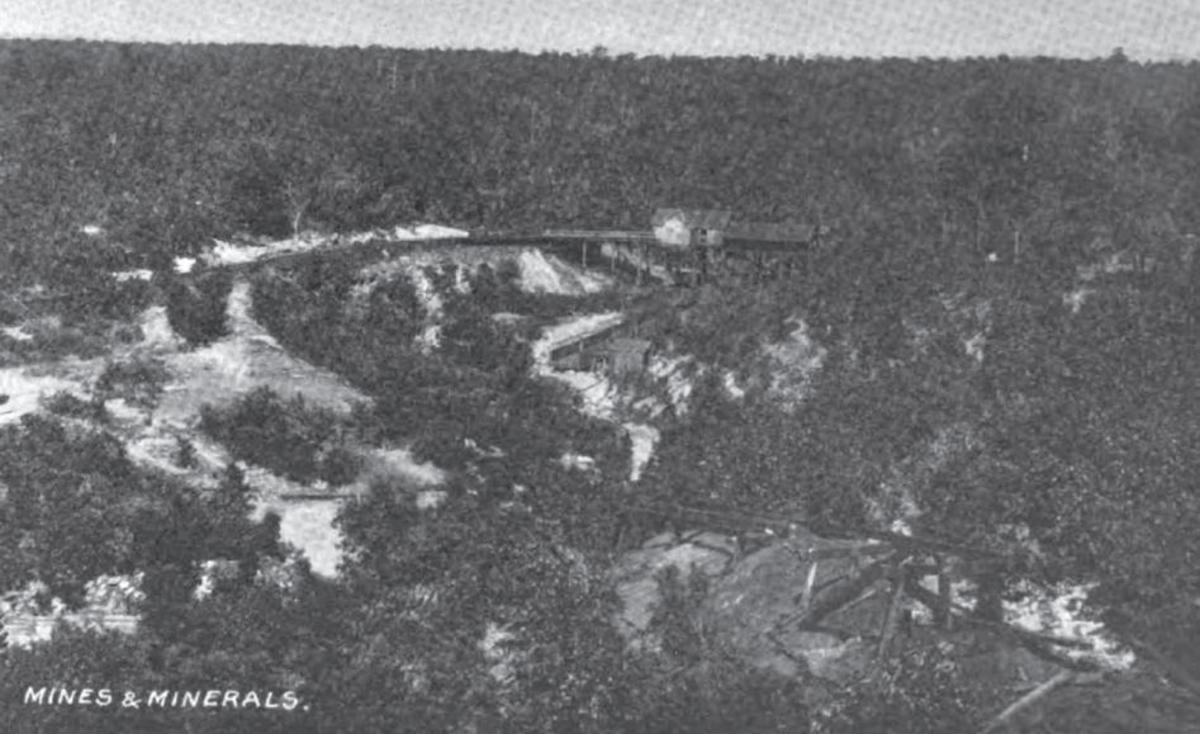 Birds Eye of the Witteville Railroad and Coal Mines, showing the location of where the tipple was once located.