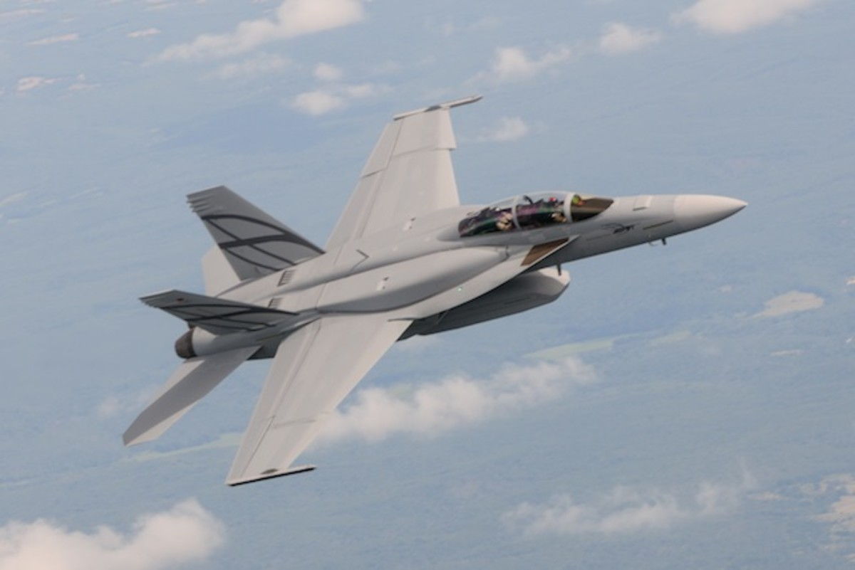 An Advanced Super Hornet. Note the shoulder mounted conformal fuel tanks.