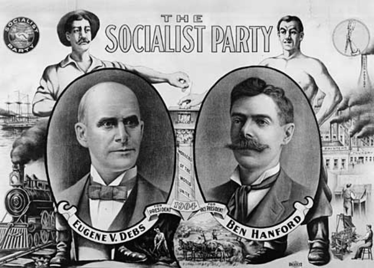 Campaign poster for Eugene V. Debs and Ben Hanford, the Socialist Party's candidates in 1912.