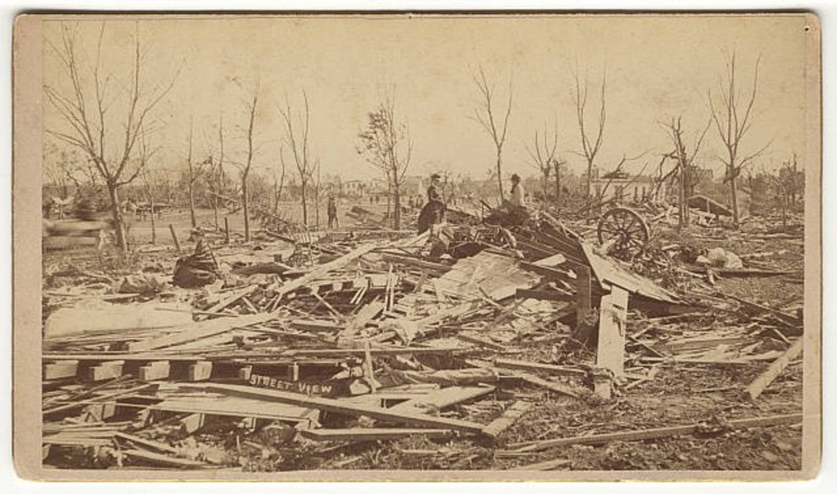 Actual 1883 photo of Rochester tornado damage