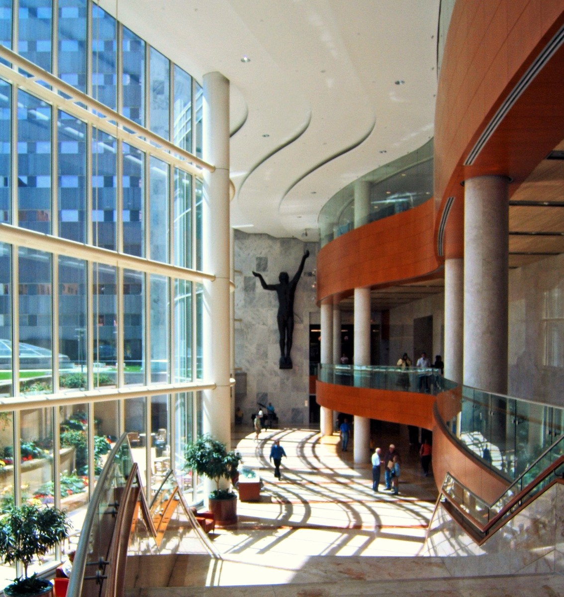 Pictured here is the Gonda Building atrium. The downtown Rochester campus has over 30 buildings, most of which are connected by underground tunnels.  photo by Chad Johnson
