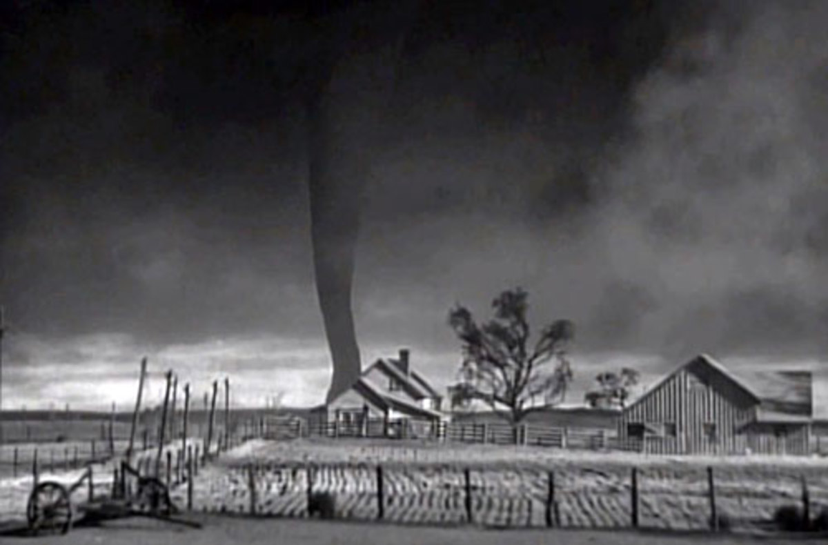 The tornado in The Wizard of Oz was created in the studio using a large muslim sock