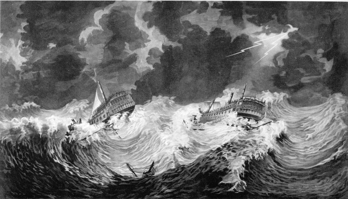 Scores of ships were lost during the Great Hurricane of 1780, mezzotint by William Elliot in 1784